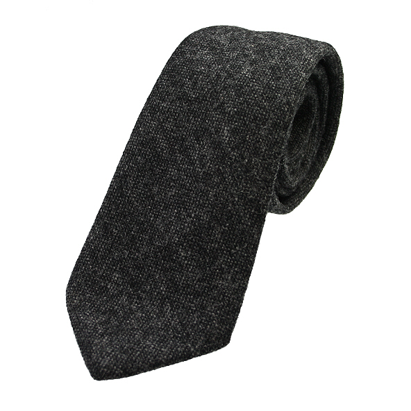 mottled charcoal grey tweed wool tie 6 u121 11