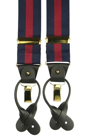 Combination Navy Blue/Red Button & Clip Trouser Braces