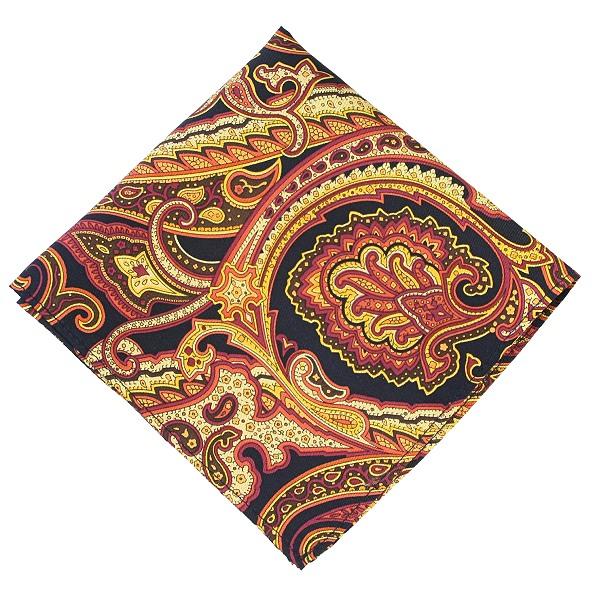 4020e0a609c69 Gold Paisley Scroll Pattern Silk Pocket Square - Elegant Extras