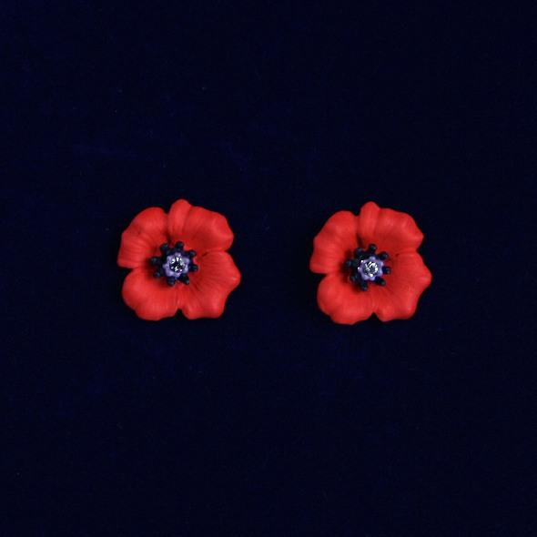39ee806f8 Poppy Flower Earrings With Swarkovski Crystals - Elegant Extras