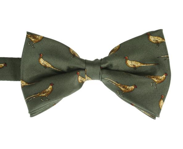 4bb49dc6f710 Pre-tied Silk Green Single Pheasant Bow Tie - Elegant Extras