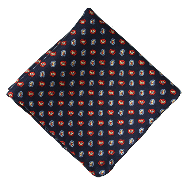c937c6c9604d6 Navy Blue & Red Small Paisley Silk Pocket Square - Elegant Extras